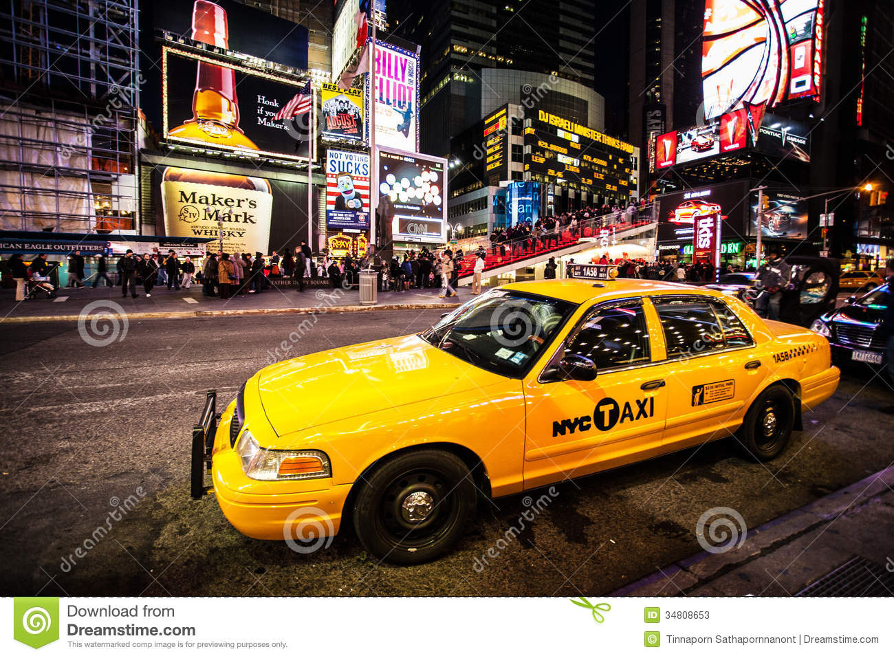 new york city taxi times square editorial stock photo image 34808653. Black Bedroom Furniture Sets. Home Design Ideas