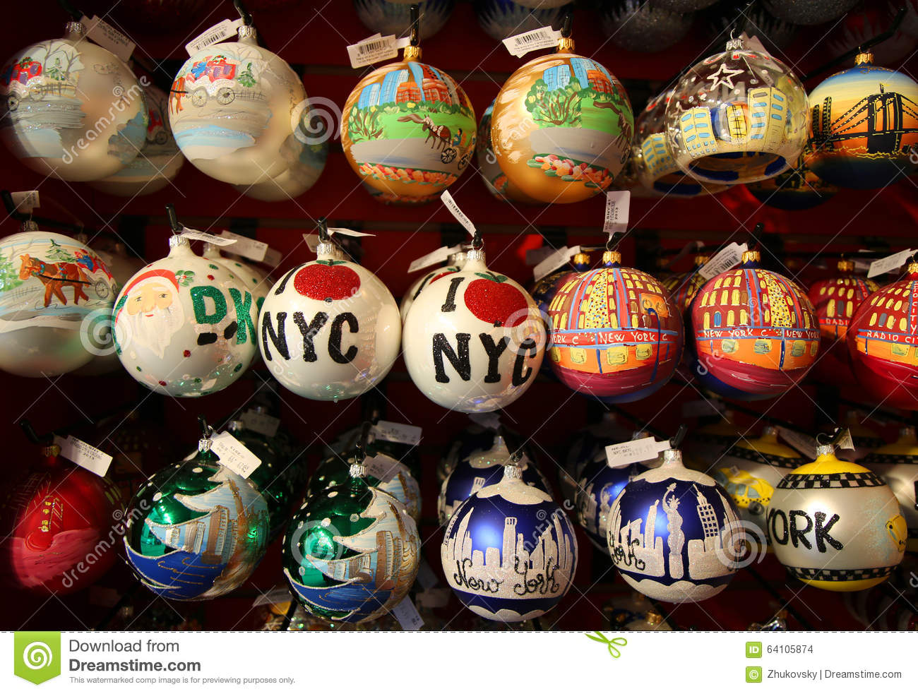 Themed christmas ornaments - New York City Themed Christmas Ornaments Editorial Stock Image