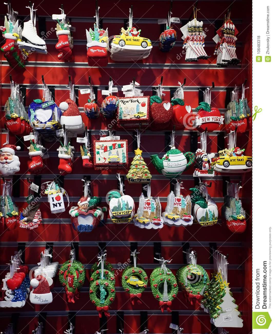 New York City Themed Christmas Ornaments On Display In Manhattan ...