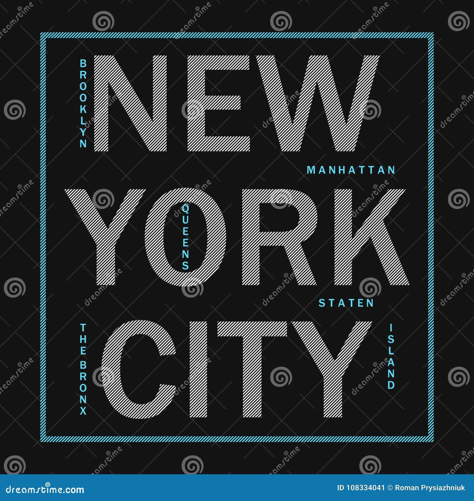 New York City - tipografia moderna para a roupa do projeto, t-shirt atlético Gráficos para o produto da cópia, fato Crachá para o