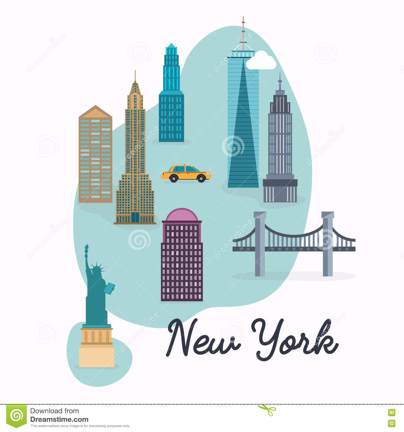 Map Of New York City With Landmarks.New York City Travel Map And Vector Landscape Of Buildings And