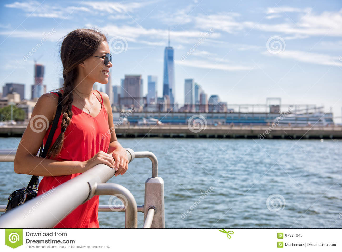 new york city travel - tourist woman looking at view stock image