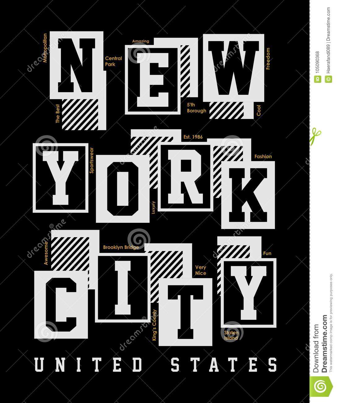 0909c8c4a New York City United States, T-shirt typography print New York urban theme  graphic cool design classic vintage illustration
