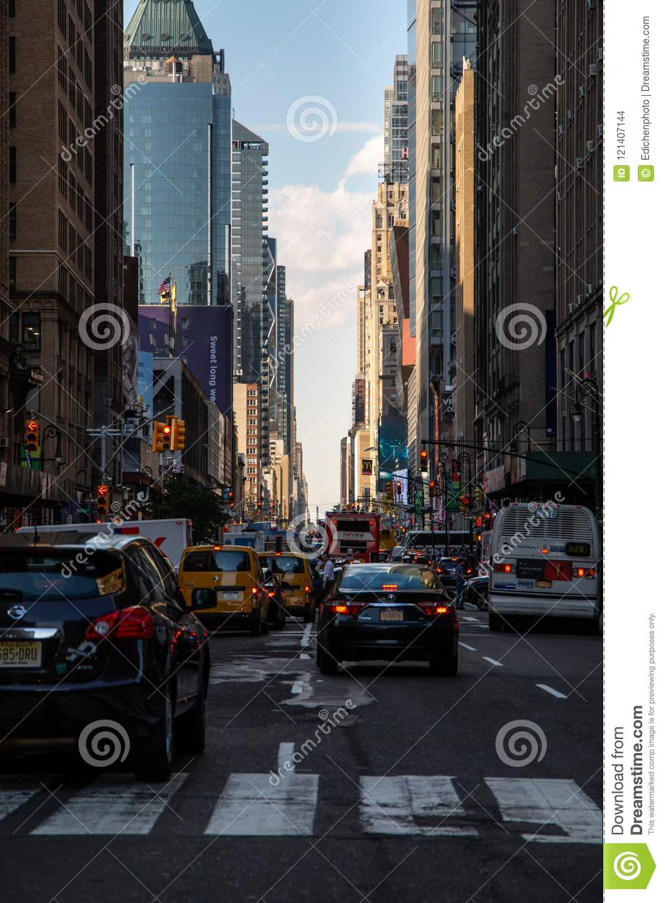 New York City Usa Jul 13 2018 Seventh Avenue Street View At