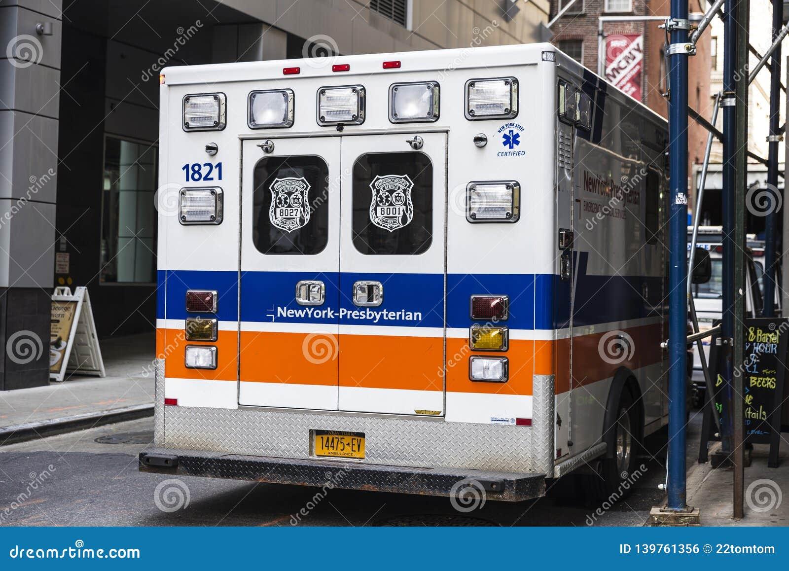 Ambulance Car Of New York Presbyterian In New York City, USA