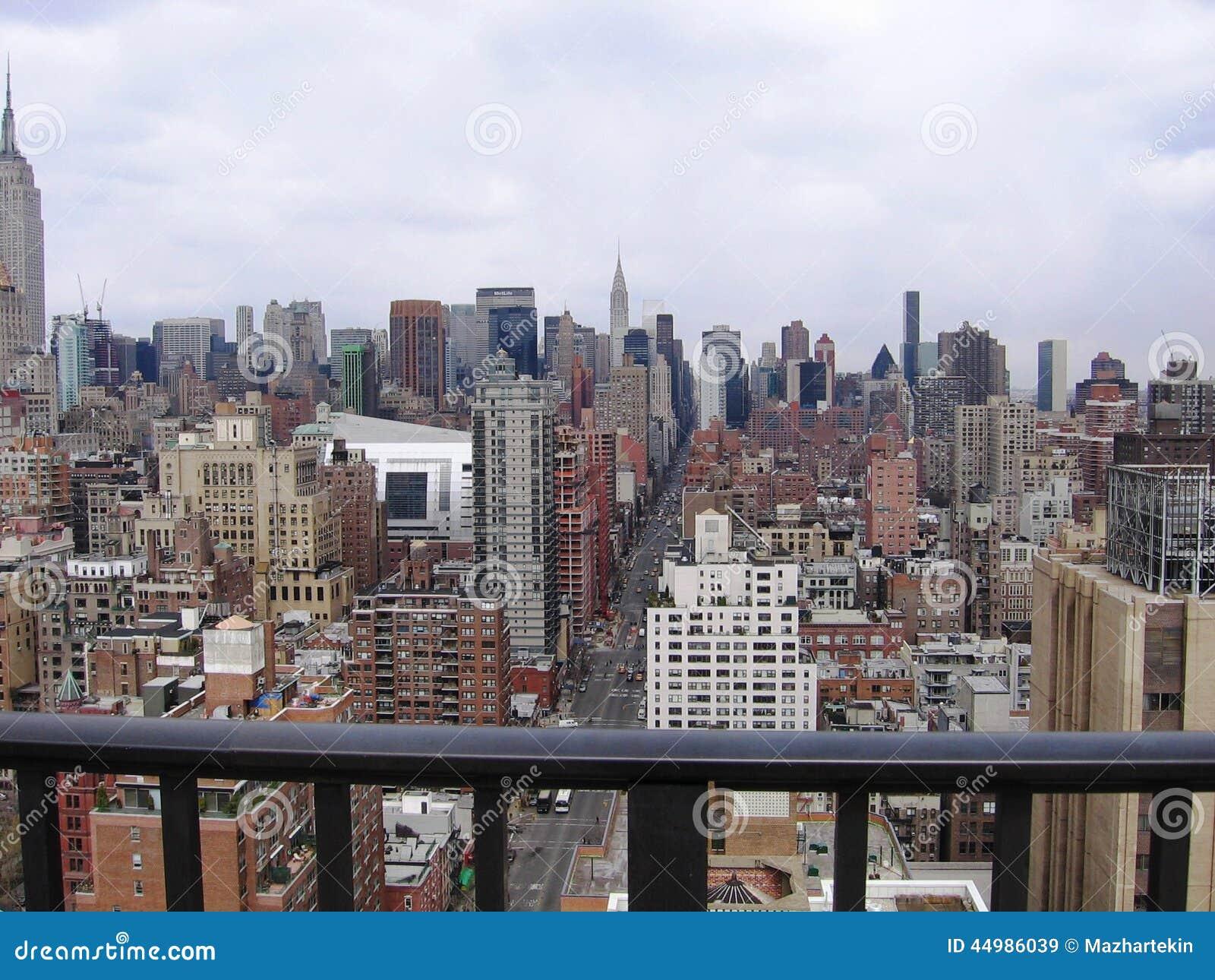 New york city view from the hotel balcony stock photo for Balcony new york