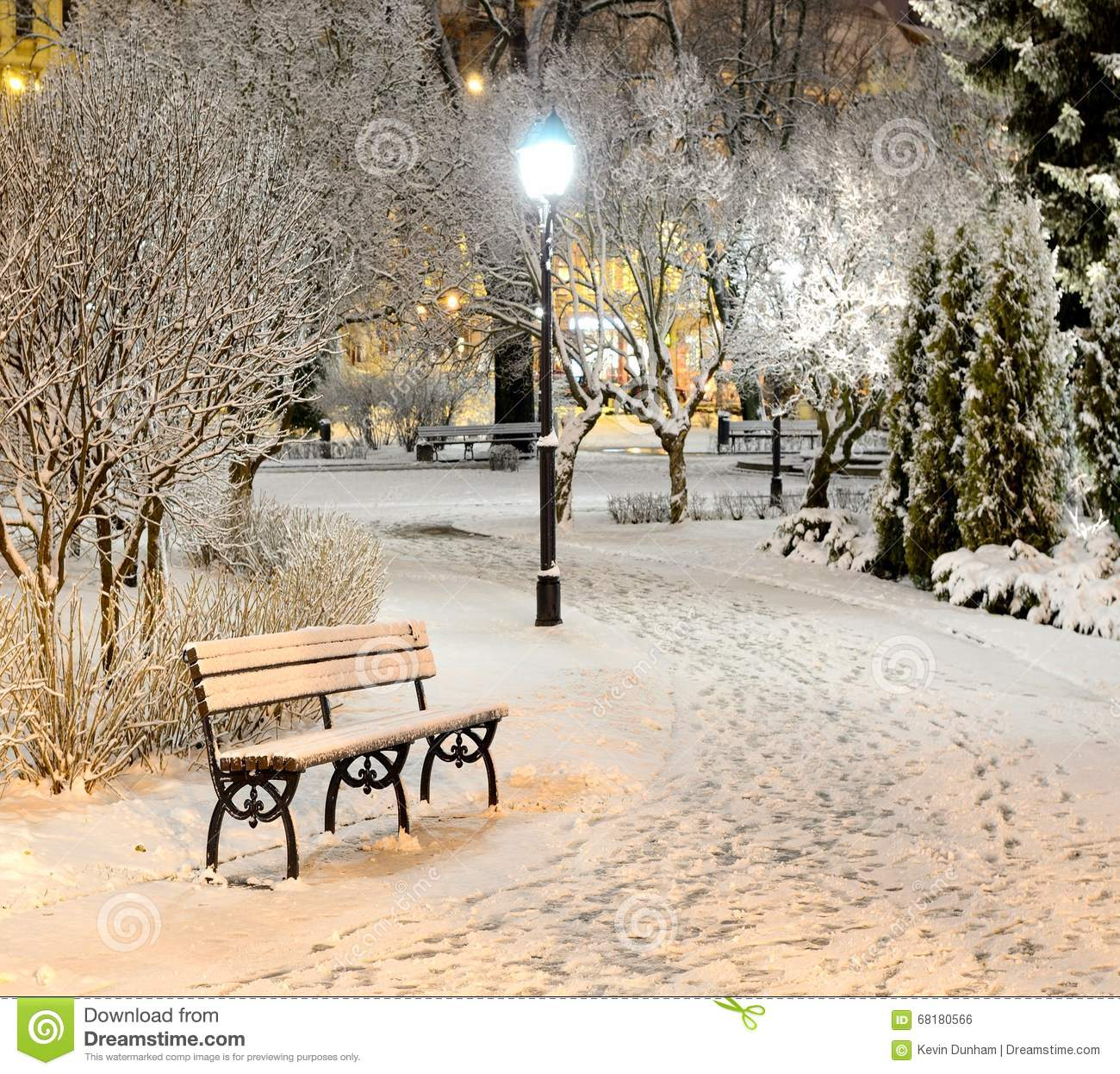 New York City Winter Park Bench Stock Photo Image Of Lower Took