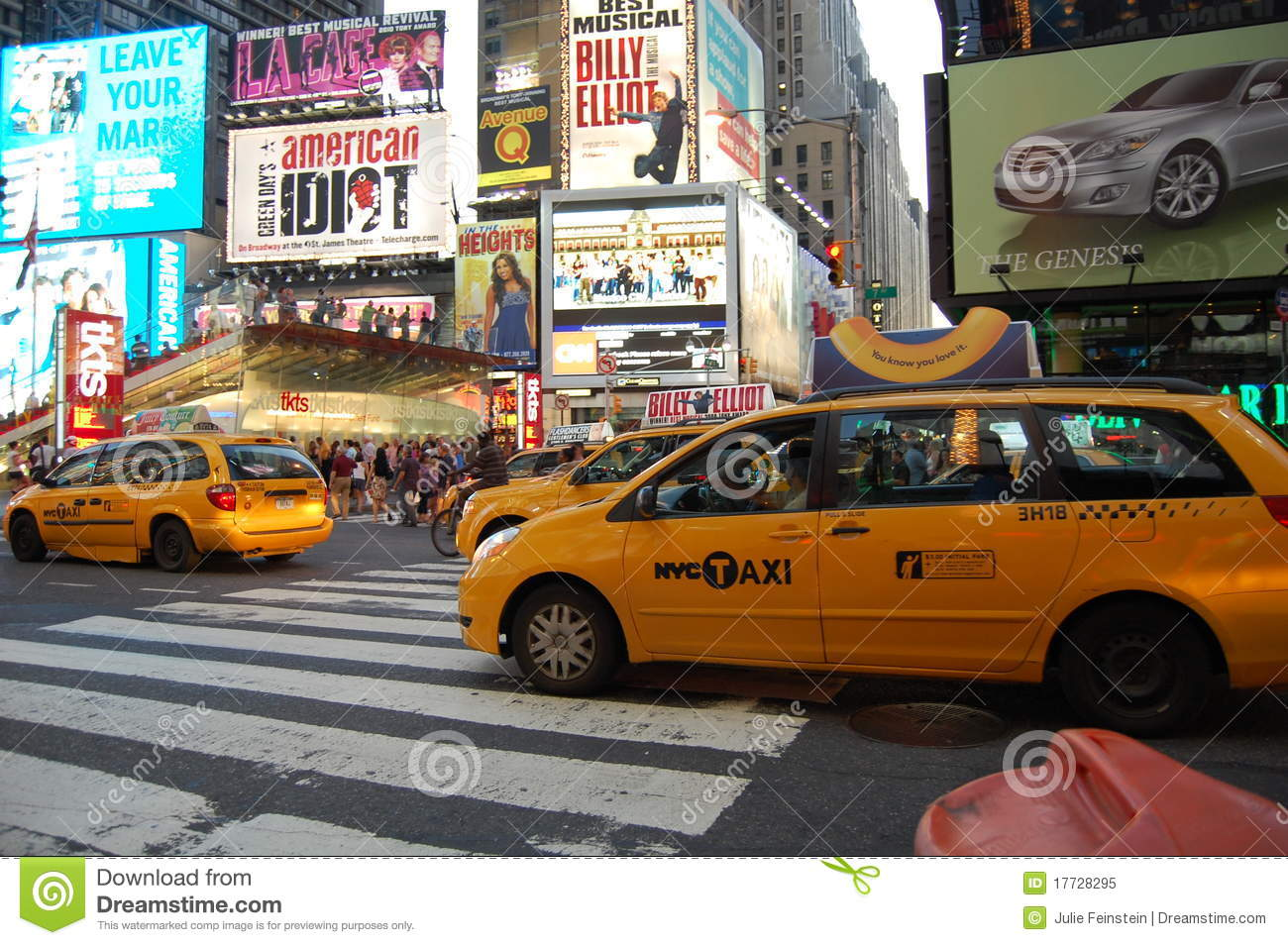 New York City yellow cabs in Times Square