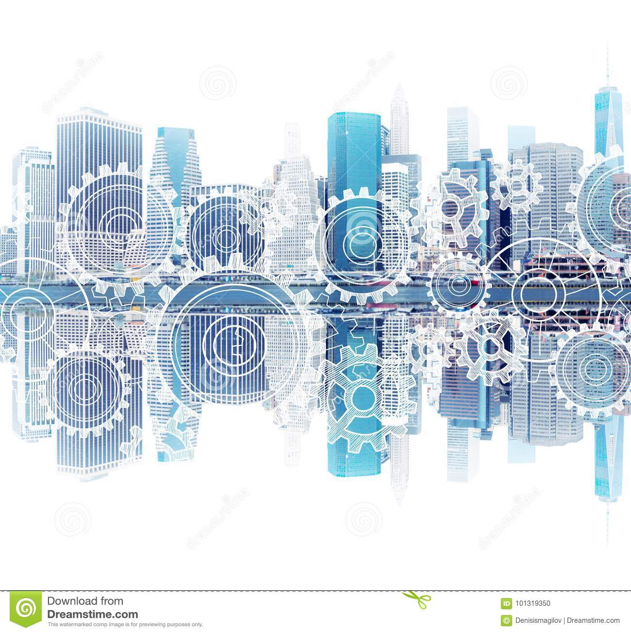 New York cityscape and its reflection, gears