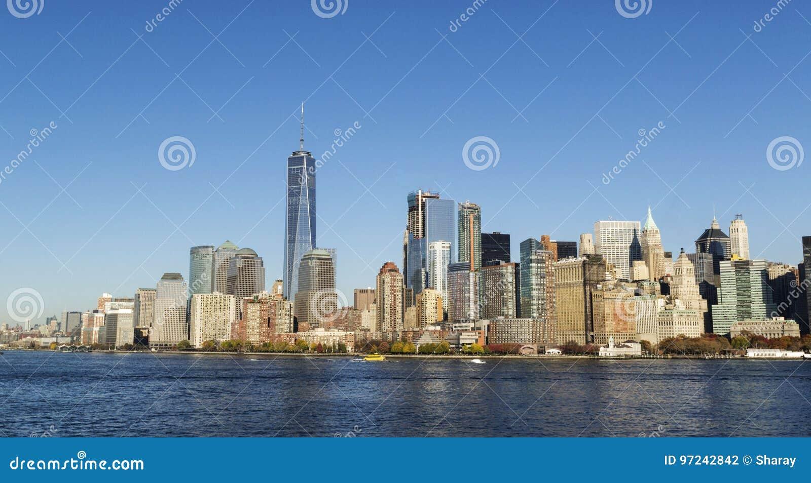 New York Cityskyline Freedom Tower Stockfoto Bild Von Welt