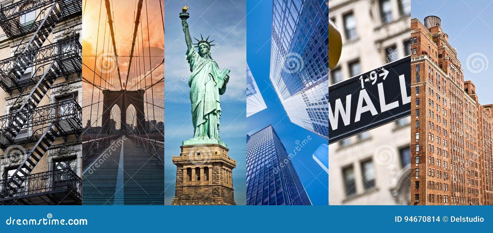 New York, collage panoramique de photo, points de repère de New York voyagent et concept de tourisme