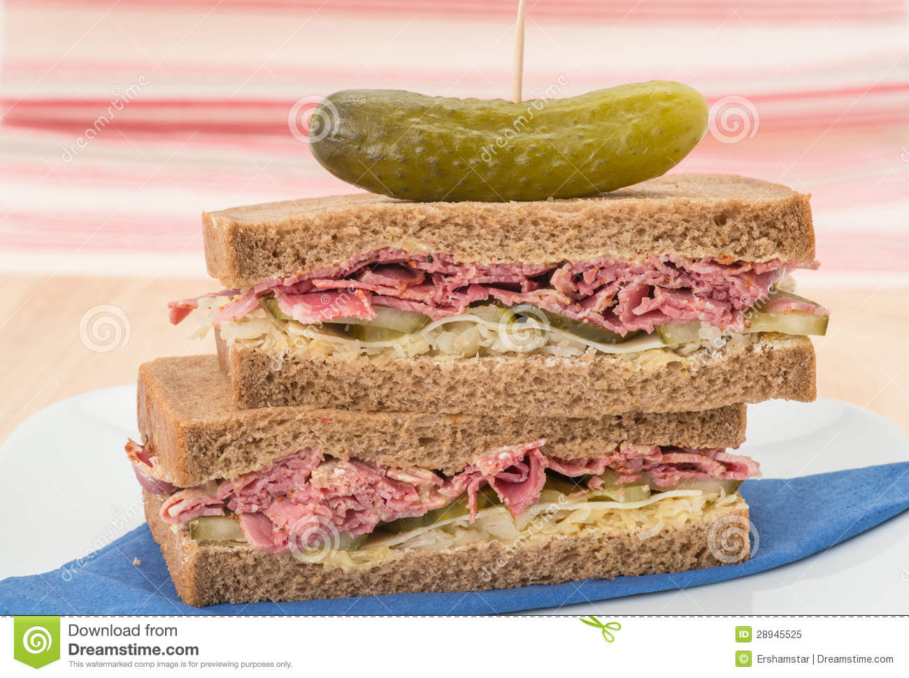 New York deli pastrami sandwich on rye bread. This sandwich has ...