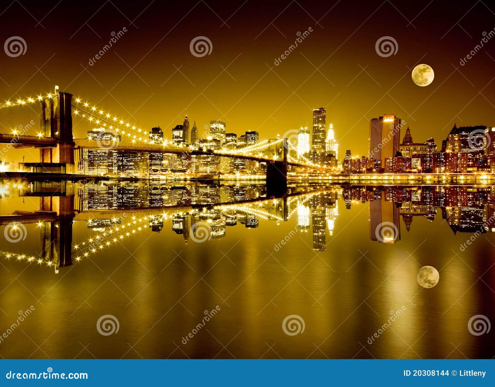 New York e ponte di Brooklyn dorati