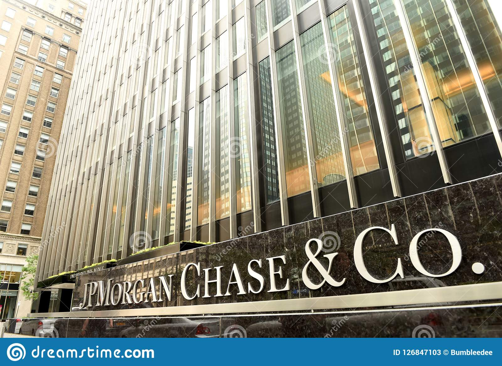New York, Etats-Unis - 26 mai 2018 : JPMorgan bureau chassent et de Co au