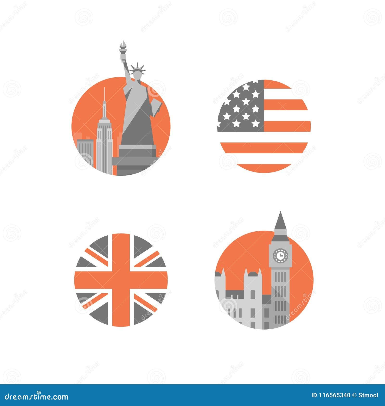 New York, Freiheitsstatue, London-, Big Ben-Turm, internationale Bildungs-, britische und amerikanischeenglische Sprache