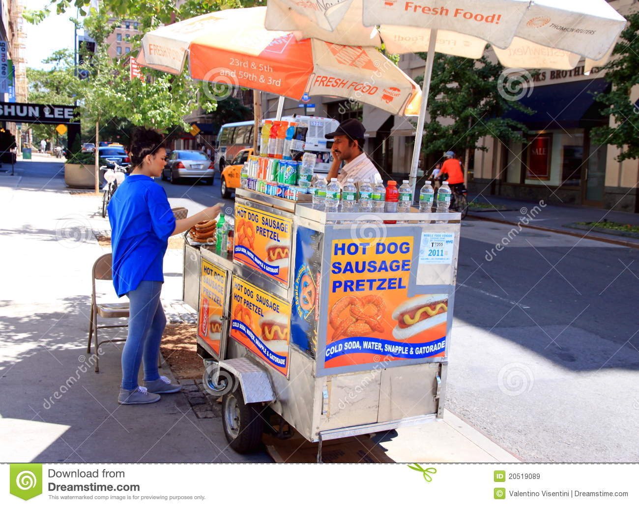 New York Hot Dog And Pretzel Stand Editorial Stock Image ...
