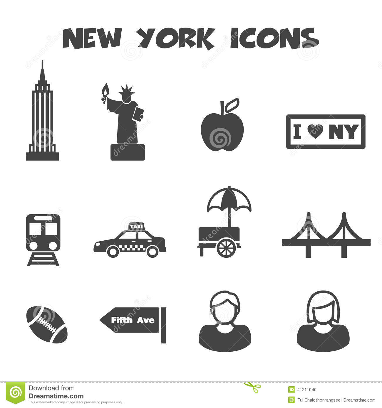 New York Icons Stock Vector - Image: 41211040