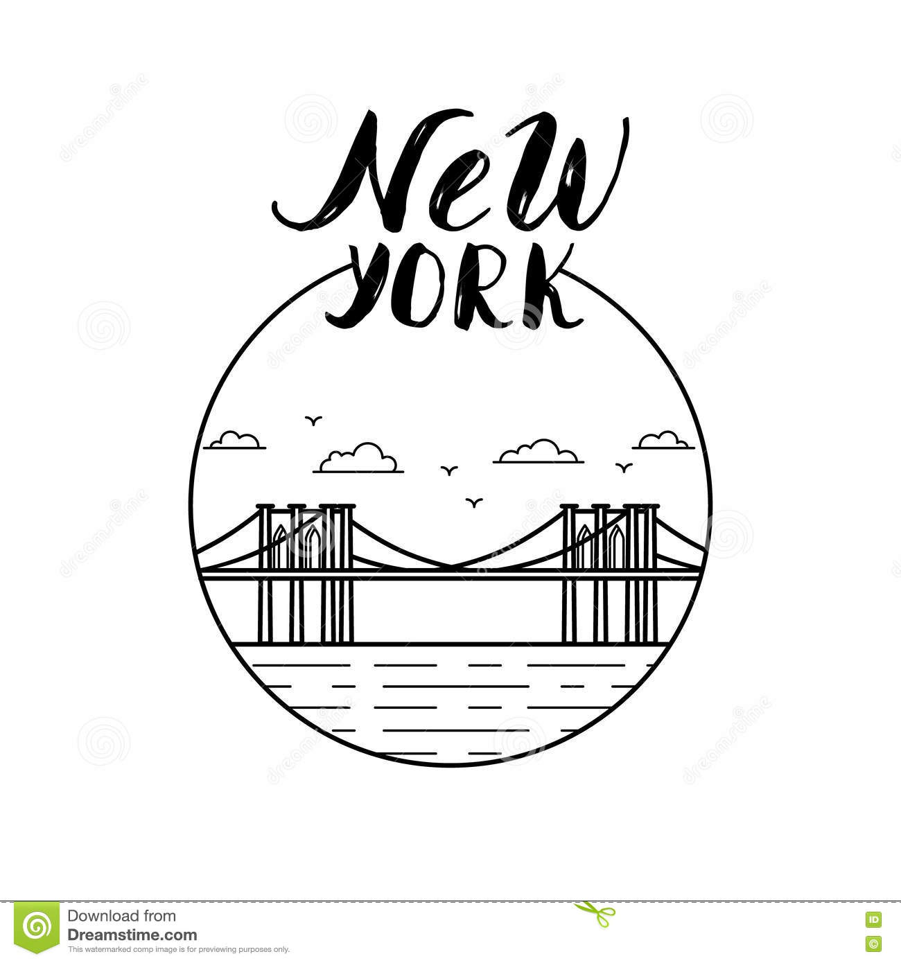 New York Illustration With Modern Calligraphy And Brooklyn