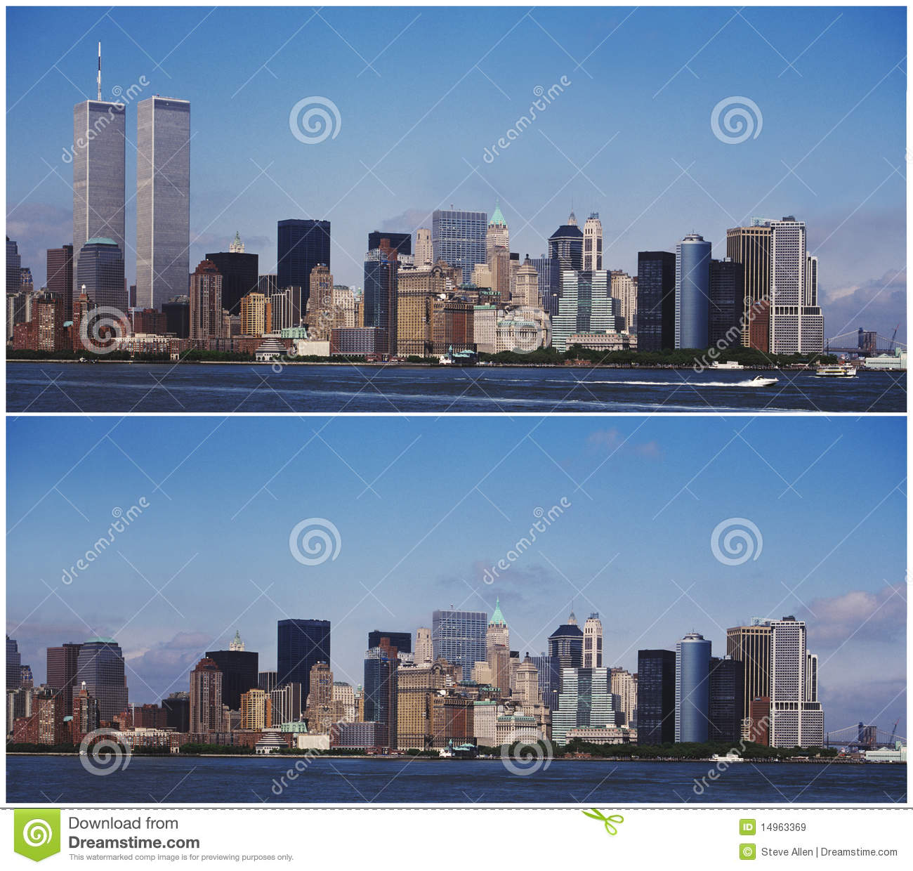 The new york manhattan skyline before and after the 9 11 terrorist