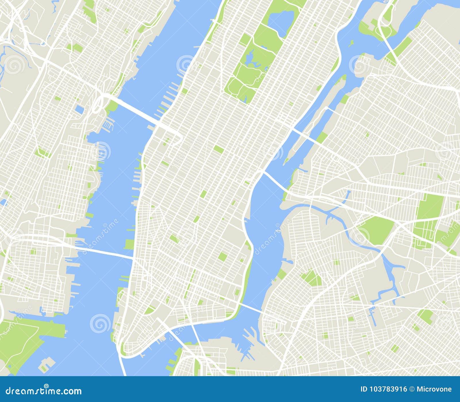 New York And Manhattan Urban City Vector Map Stock Vector