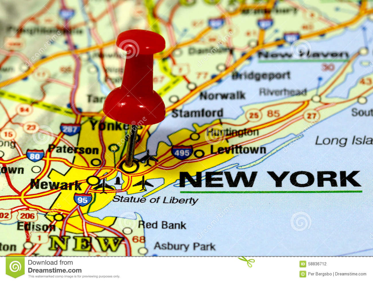 New York On The Map Of Usa.New York Stock Photo Image Of District Paper Atlas 58836712