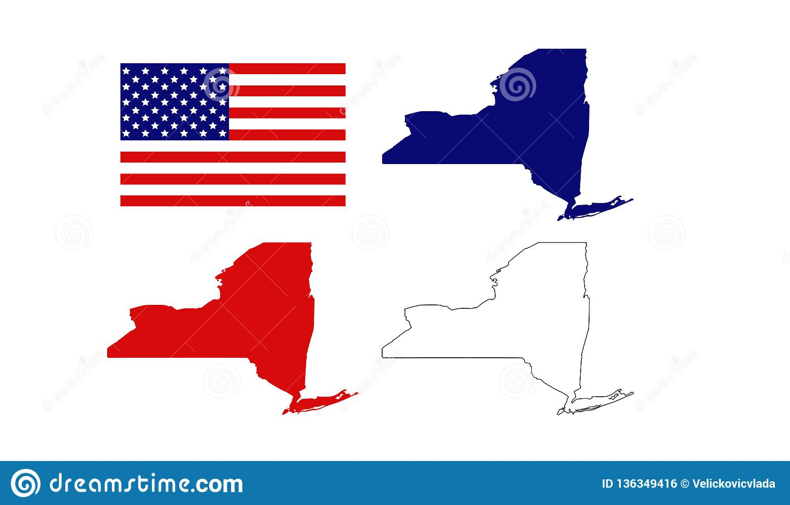 New York Maps With USA Flag - State In The Northeastern ...
