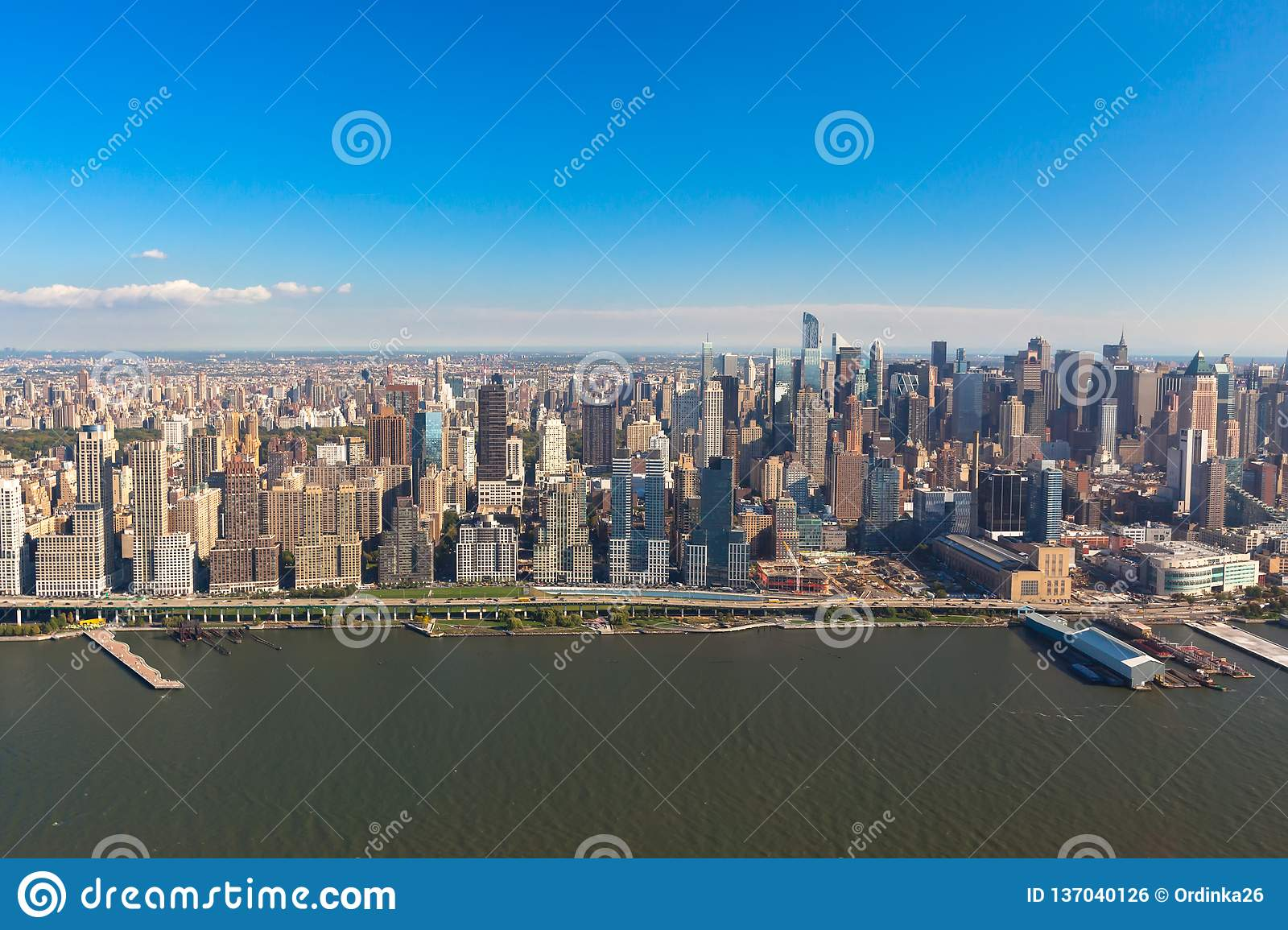 New York Midtown Manhattan in NYC NY in USA. Aerial helicopter view