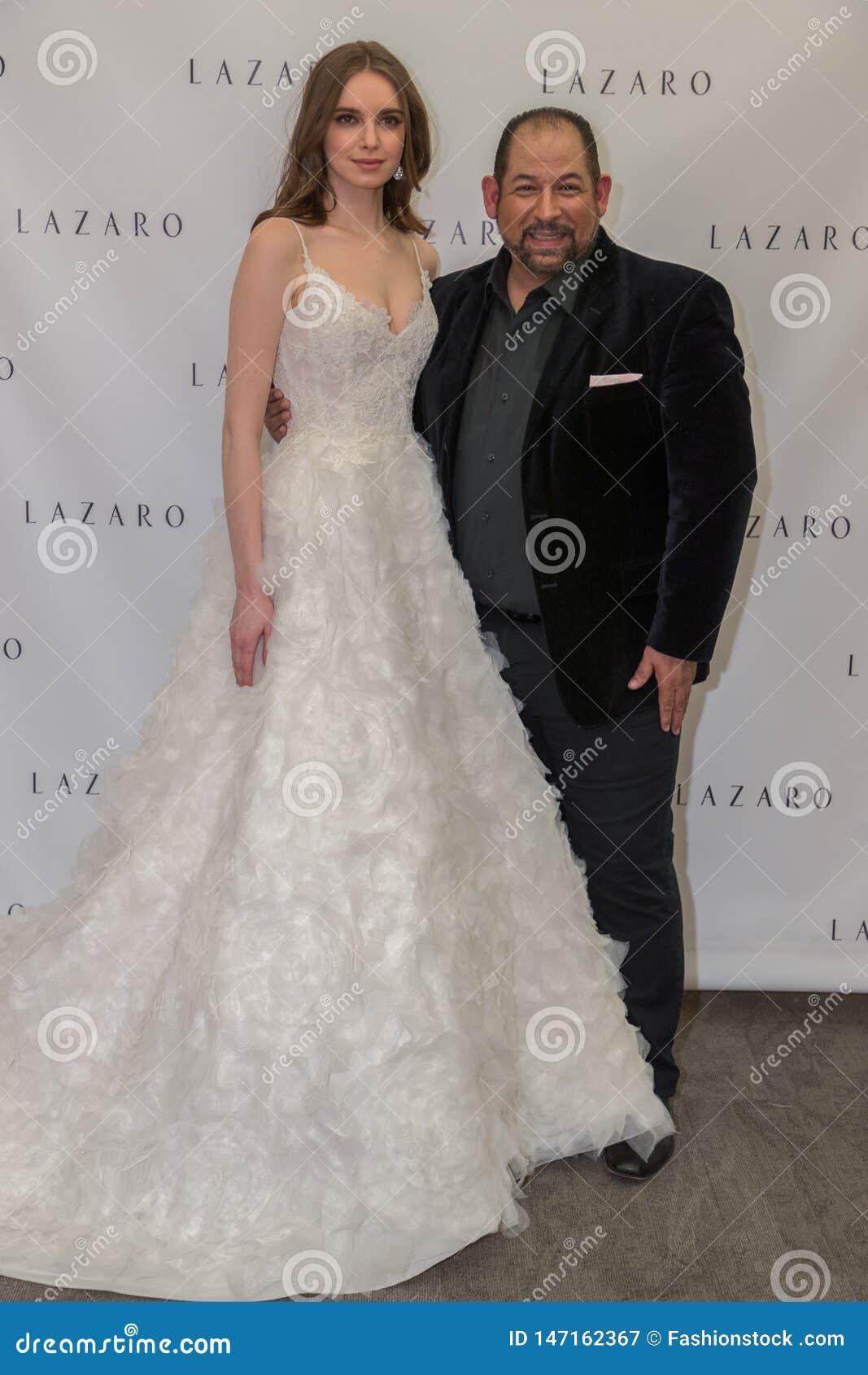 Famous Fashion Designers 2020.Designer And Model Posing During Lazaro Spring 2020 Bridal
