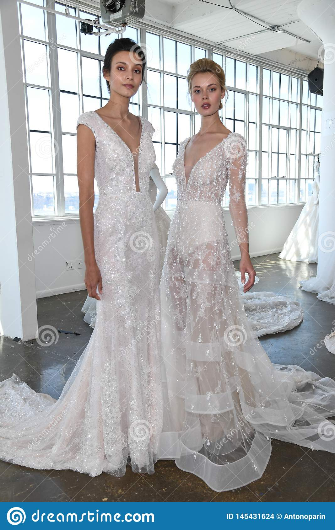 Nyc Fashion Week 2020.Models Posing For Guests During The Nicole By Pronovias