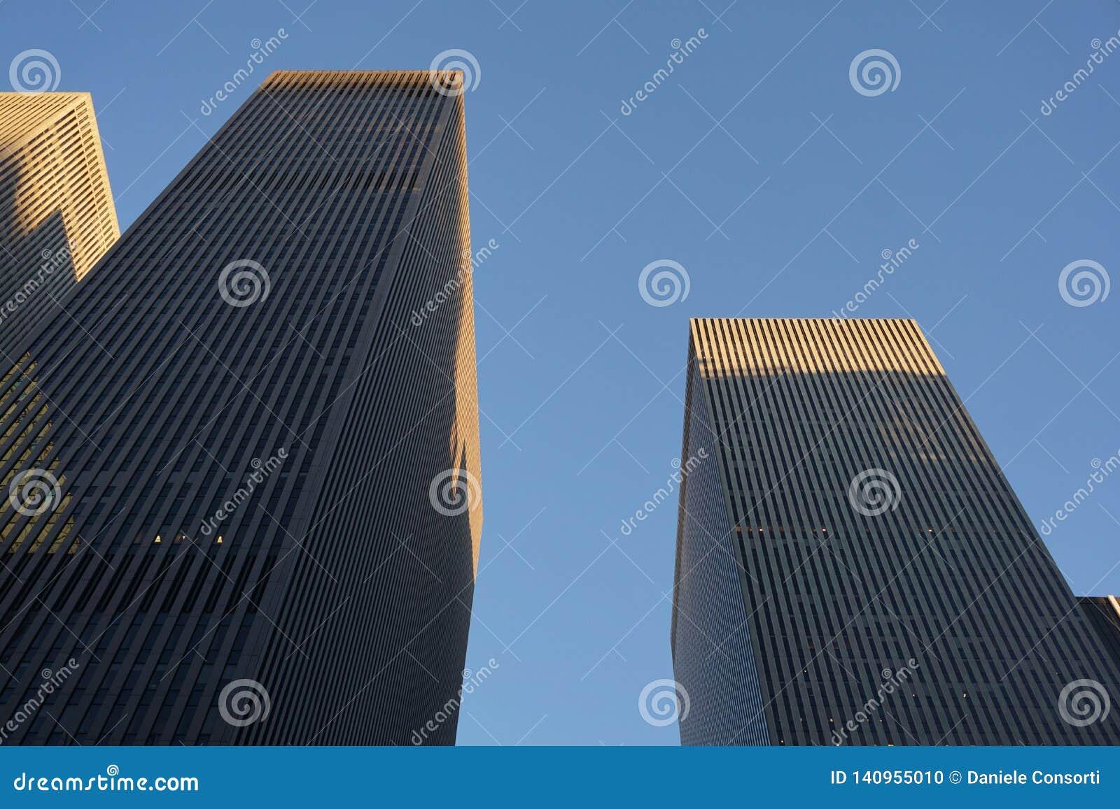 NEW YORK NY - FÖRENTA STATERNA November 2019 - skyskrapabyggnader som underifrån skjutas i New York City