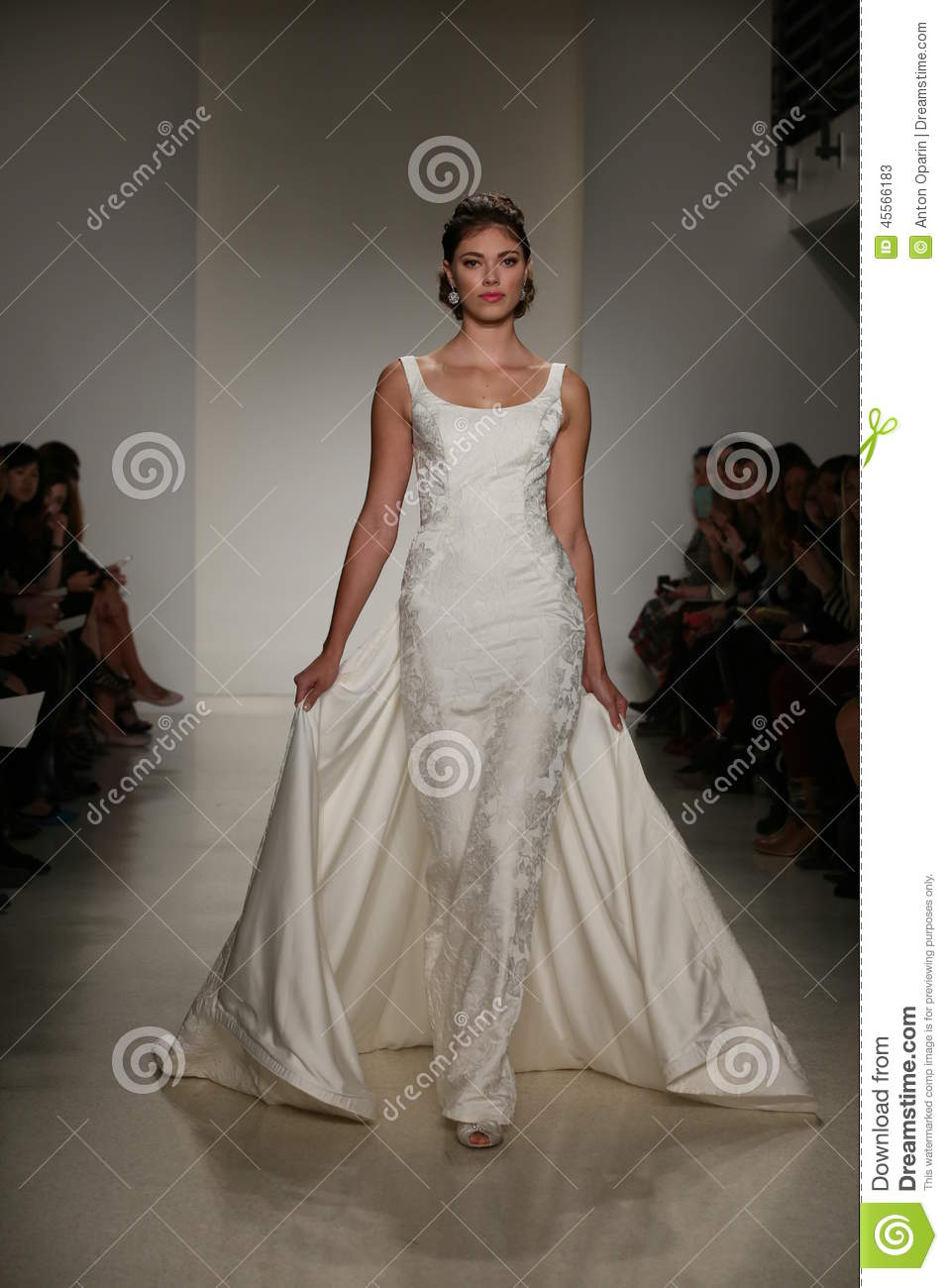 NEW YORK, NY - OCTOBER 10: A model walks the runway during the Anne Barge Fall 2015 Bridal Collection Show