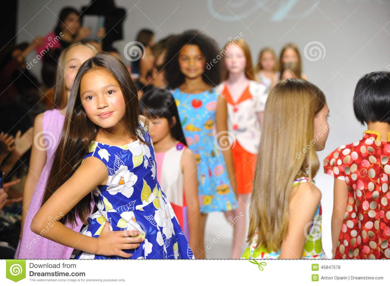 Children Models NEW YORK, NY - OCTOBER 19: Models walk the runway finale during the Aria  Children s Clothing preview at petitePARADE Kids Fashion