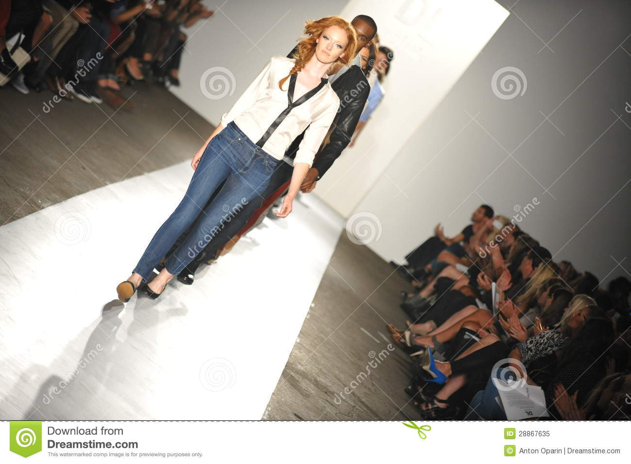 NEW YORK, NY - SEPTEMBER 05: A models walk the runway at the DL 1961 Premium Denim spring 2013 fashion show