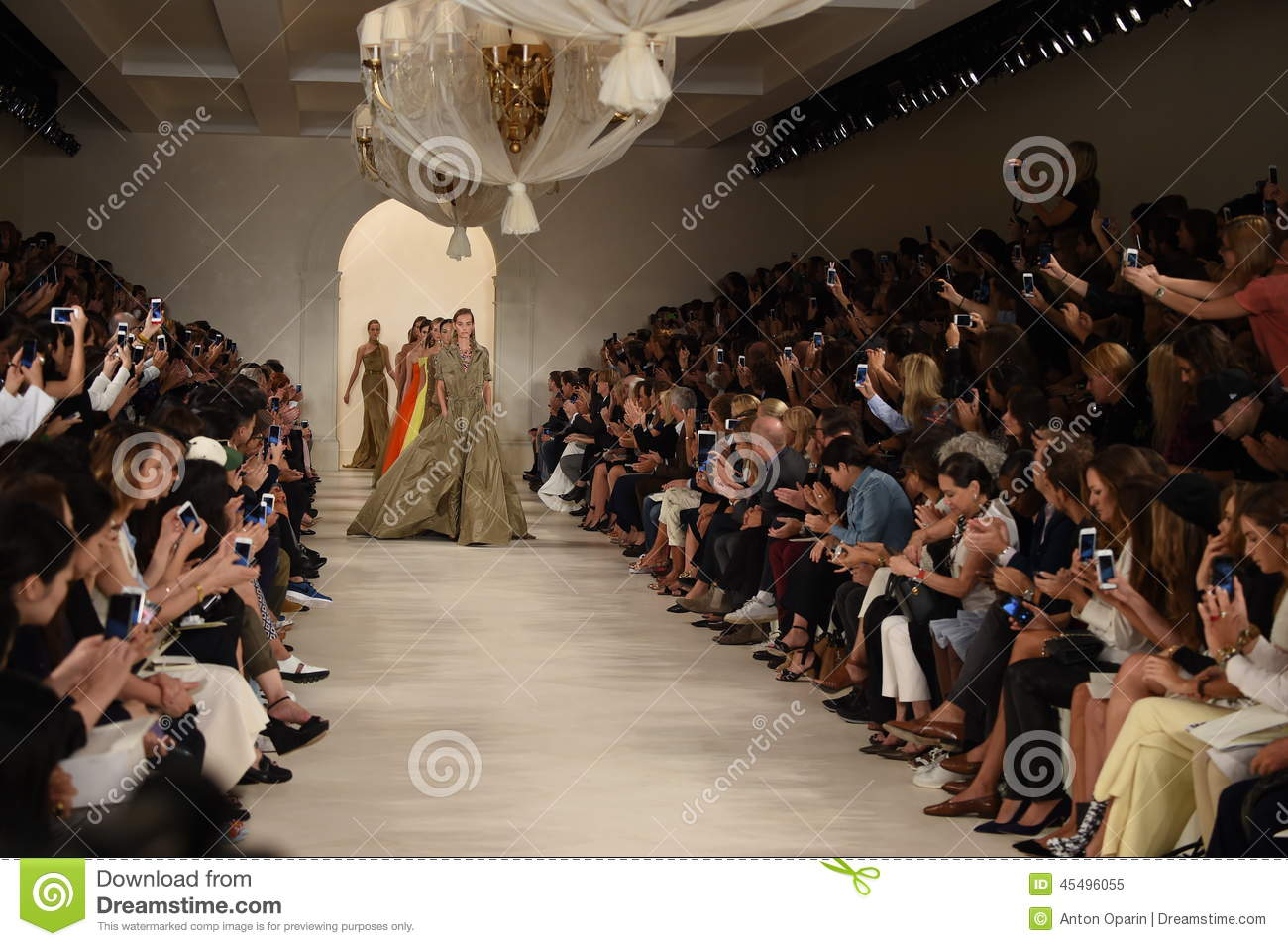 NEW YORK, NY - SEPTEMBER 11: Models walk the runway finale at Ralph Lauren fashion show