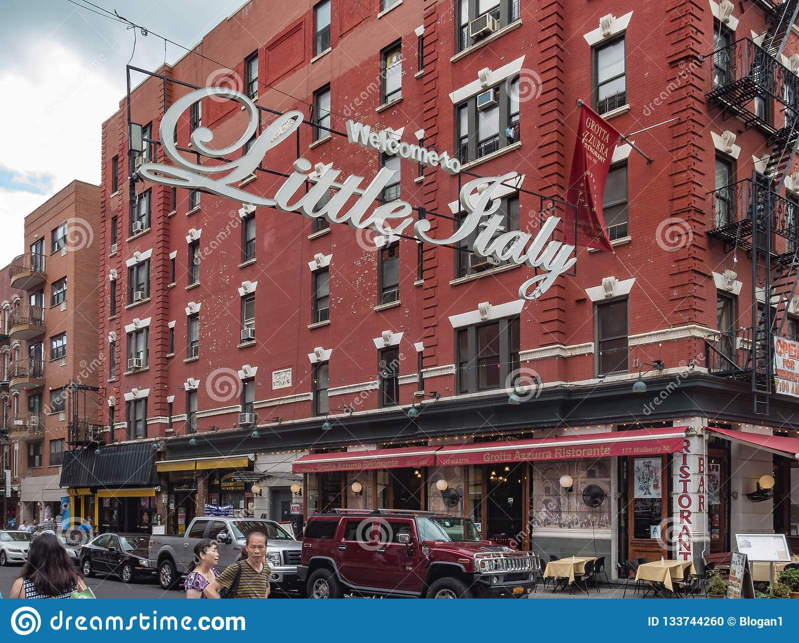 New York, NY / United States-July 5, 2016- Welcome to Little Italy Sign at Mulberry Street