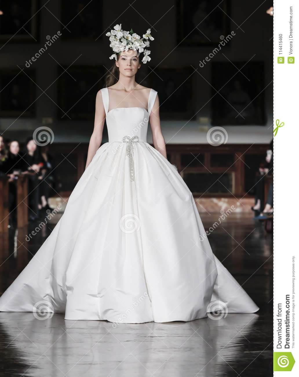 4b2d5e3b47bb New York, NY, USA - April 12, 2018: A model walks runway for Reem Acra  Bridal Spring/Summer 2019 runway show during NY Bridal Wweek at NY Public  Library, ...