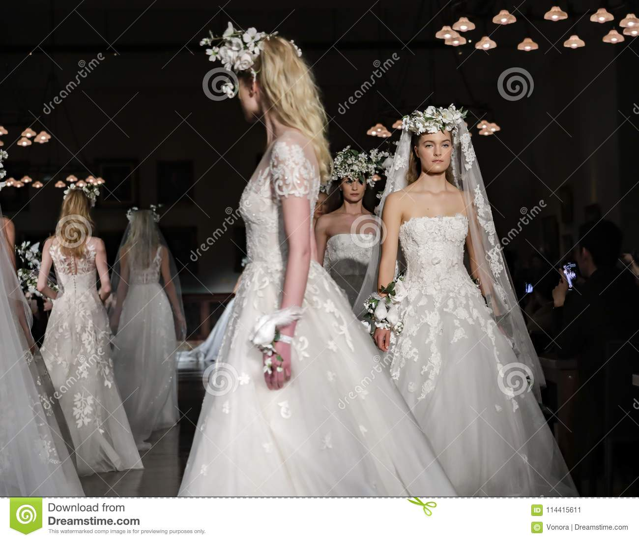 26aed1e2e32f New York, NY, USA - April 12, 2018: Models walk runway for Reem Acra Bridal  Spring/Summer 2019 collection during NY Bridal Wweek at NY Public Library,  ...