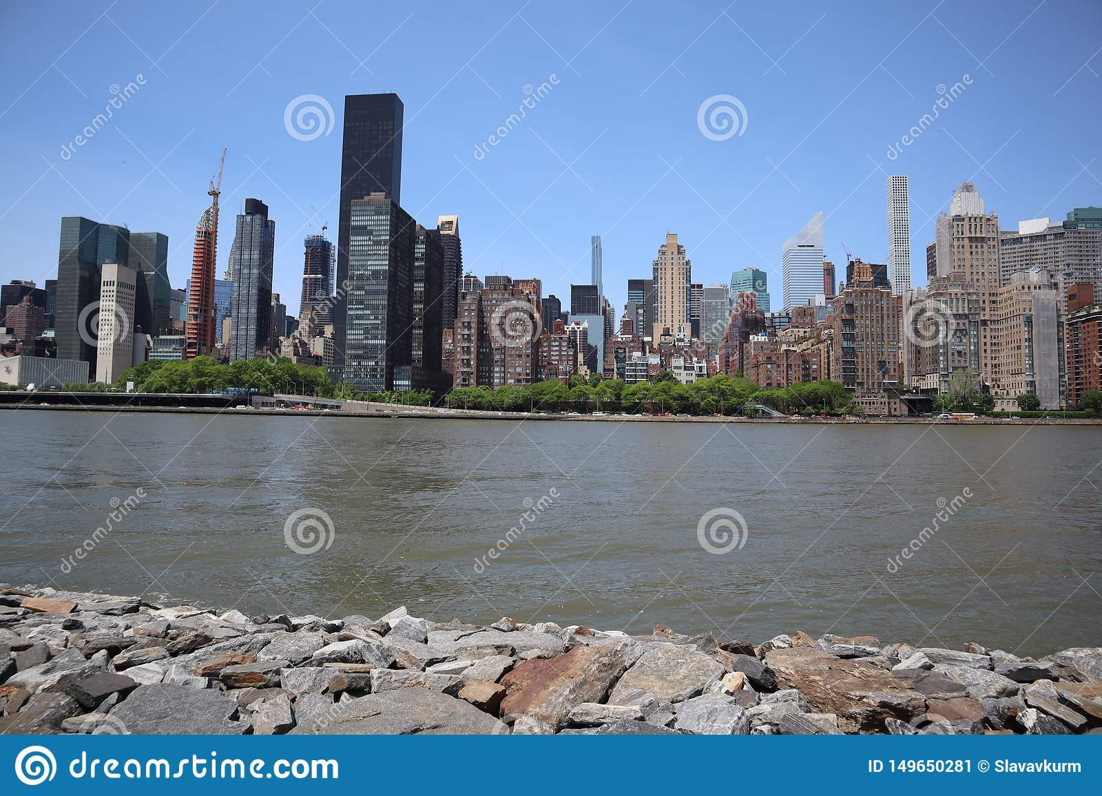 New York, NY, USA - MAY 23, 2019 - midtown manhattan view from roosevelt  Four Freedom park on Roosevelt Island, New York City