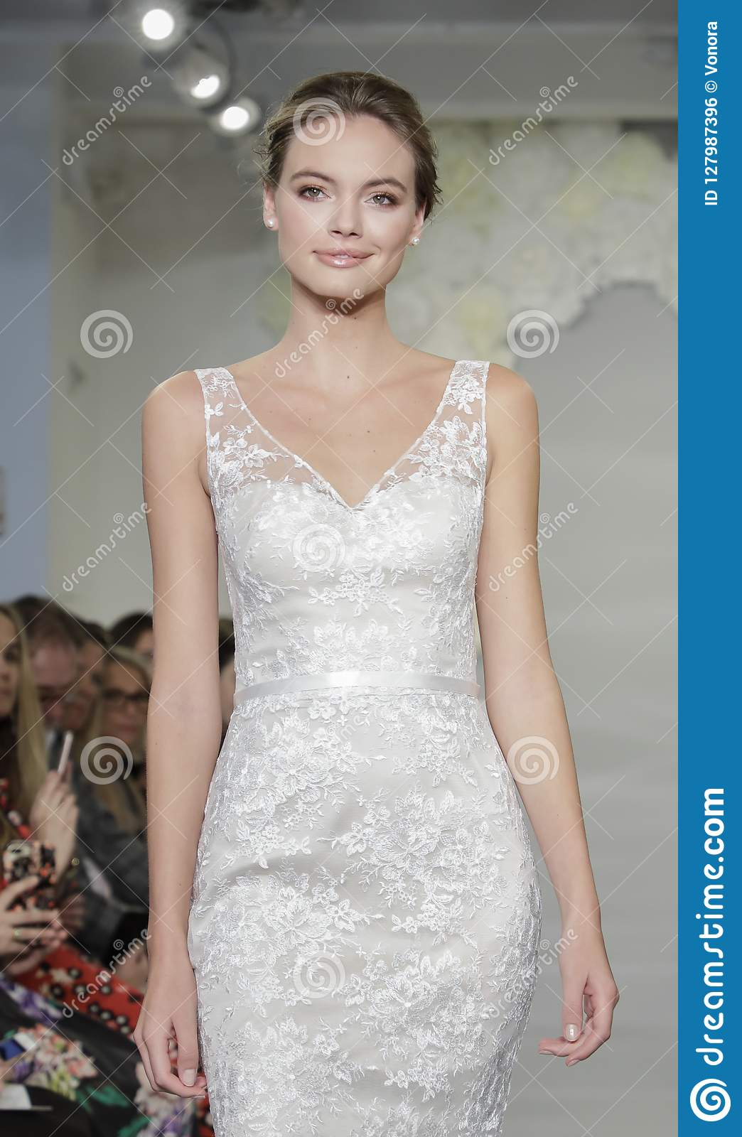 manhattan designers mobel NEW YORK, NY, USA - October 4, 2018: A model walks the runway at the Theia  runway show during New York Bridal Week at the Theia Showroom, Manhattan