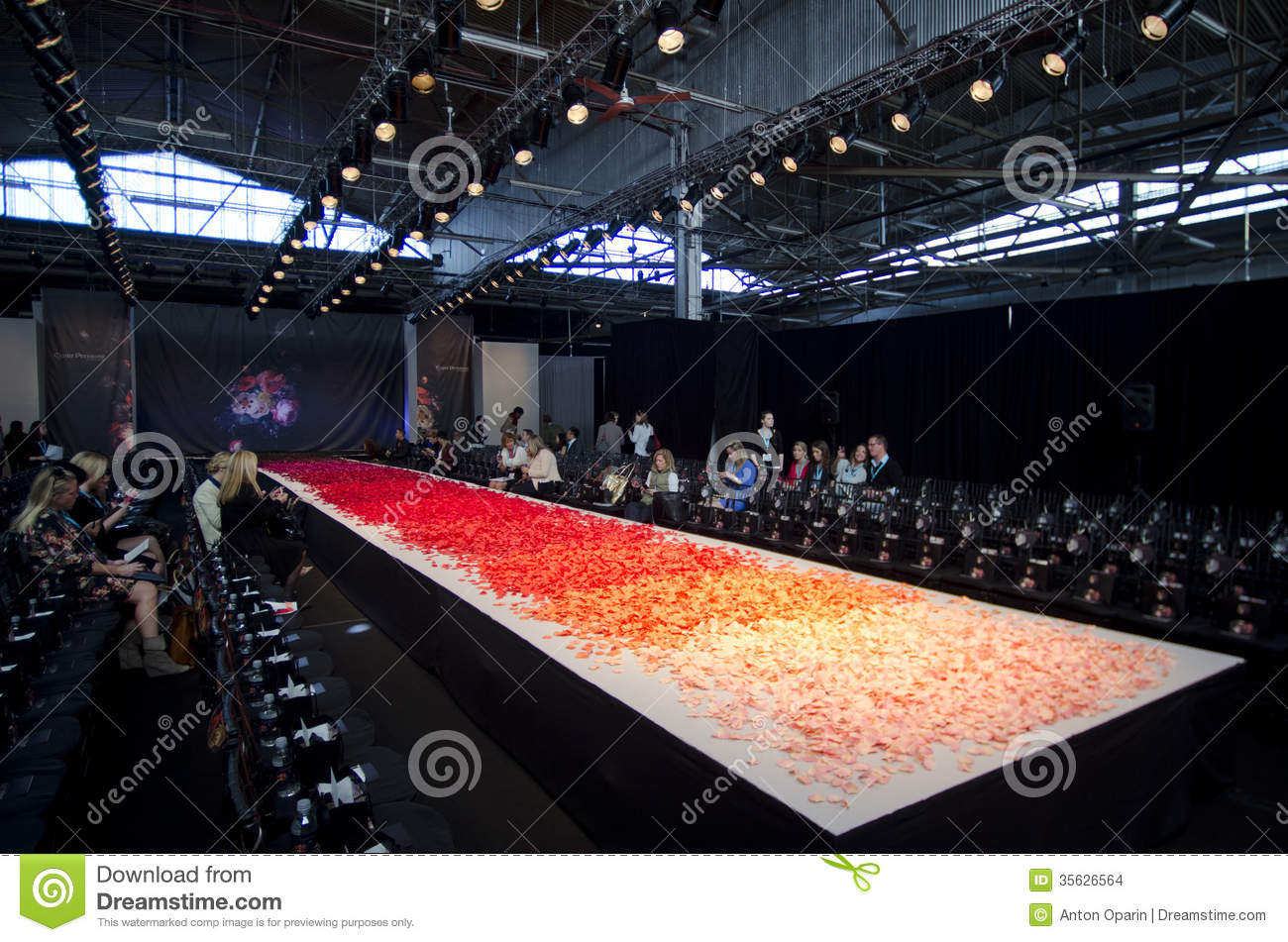 NEW YORK- OCTOBER 16: Empty runway for Claire Pettibone bridal show for Fall 2013 during NY Bridal Fashion Week