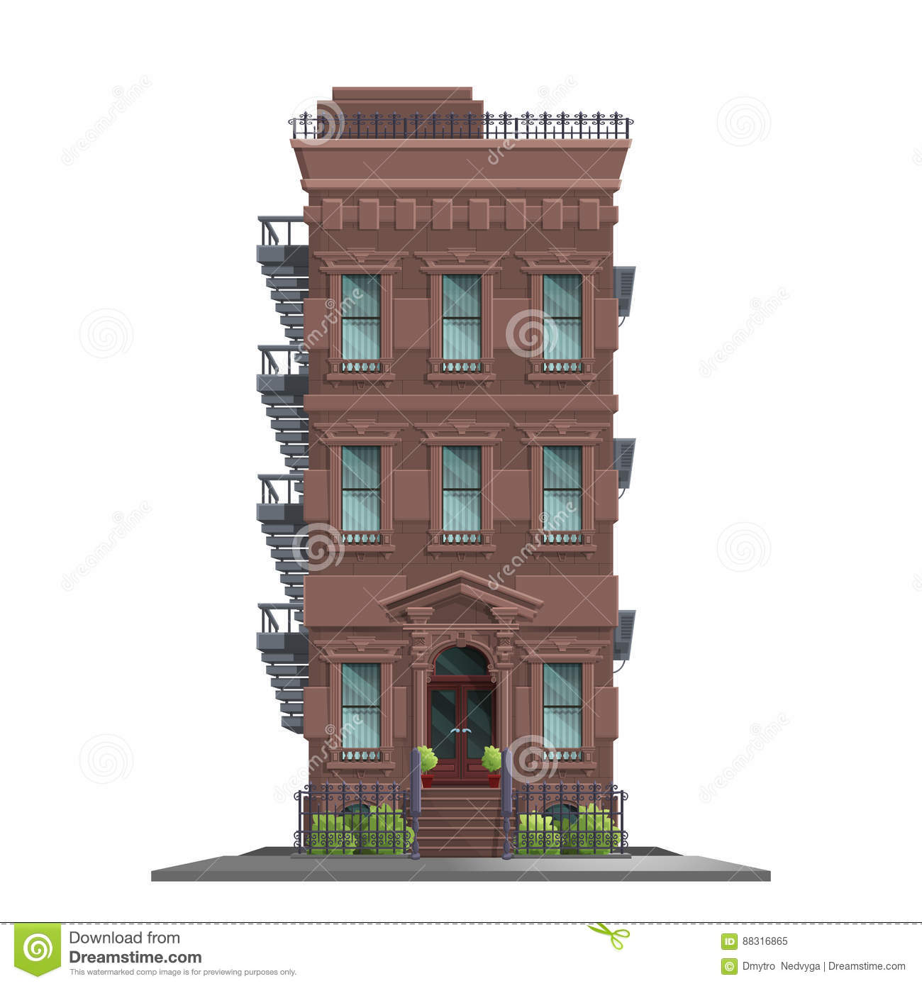 New York Old Manhattan House With Stairs Old Abstract Building And