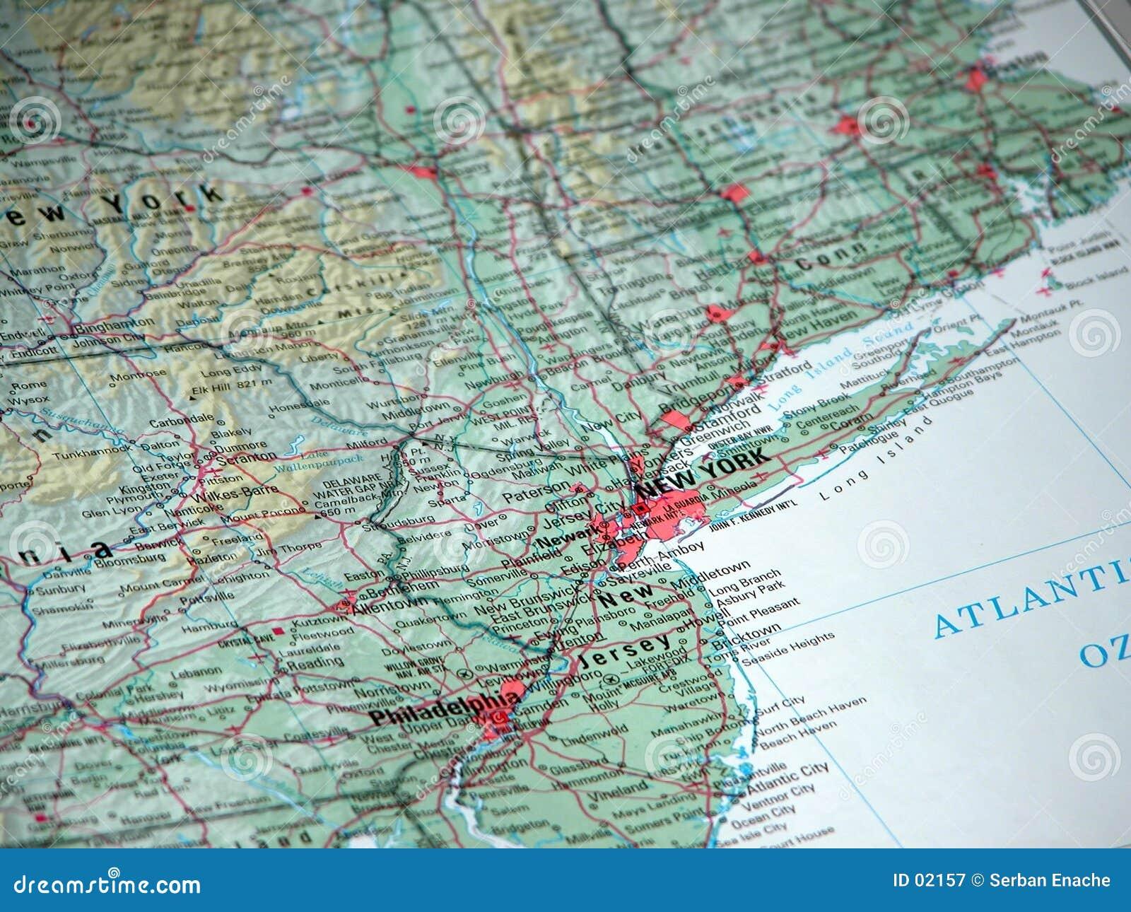 New York op de kaart