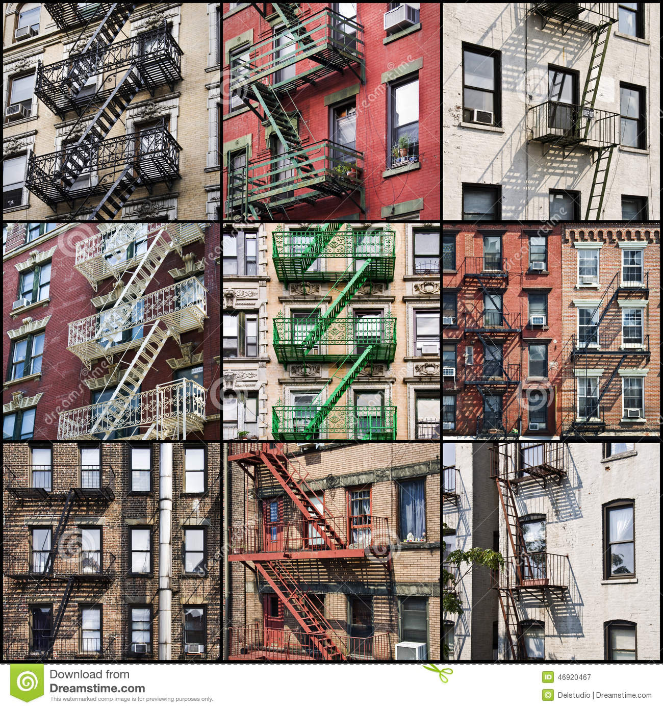 American Apartment: New York Outside Fire Escape Safety Stairs Stock Photo