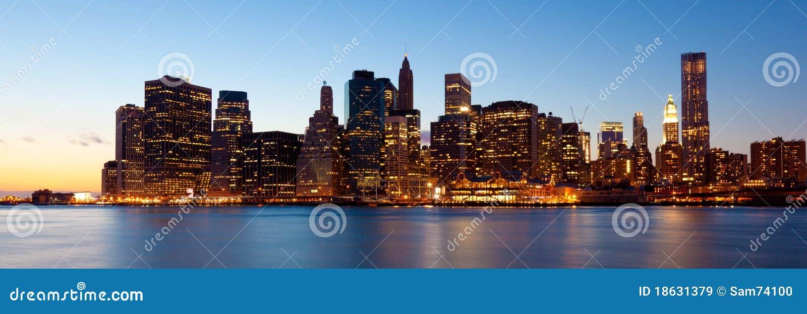 New York - Panoramic View Of Manhattan Stock Image - Image of bridge ...