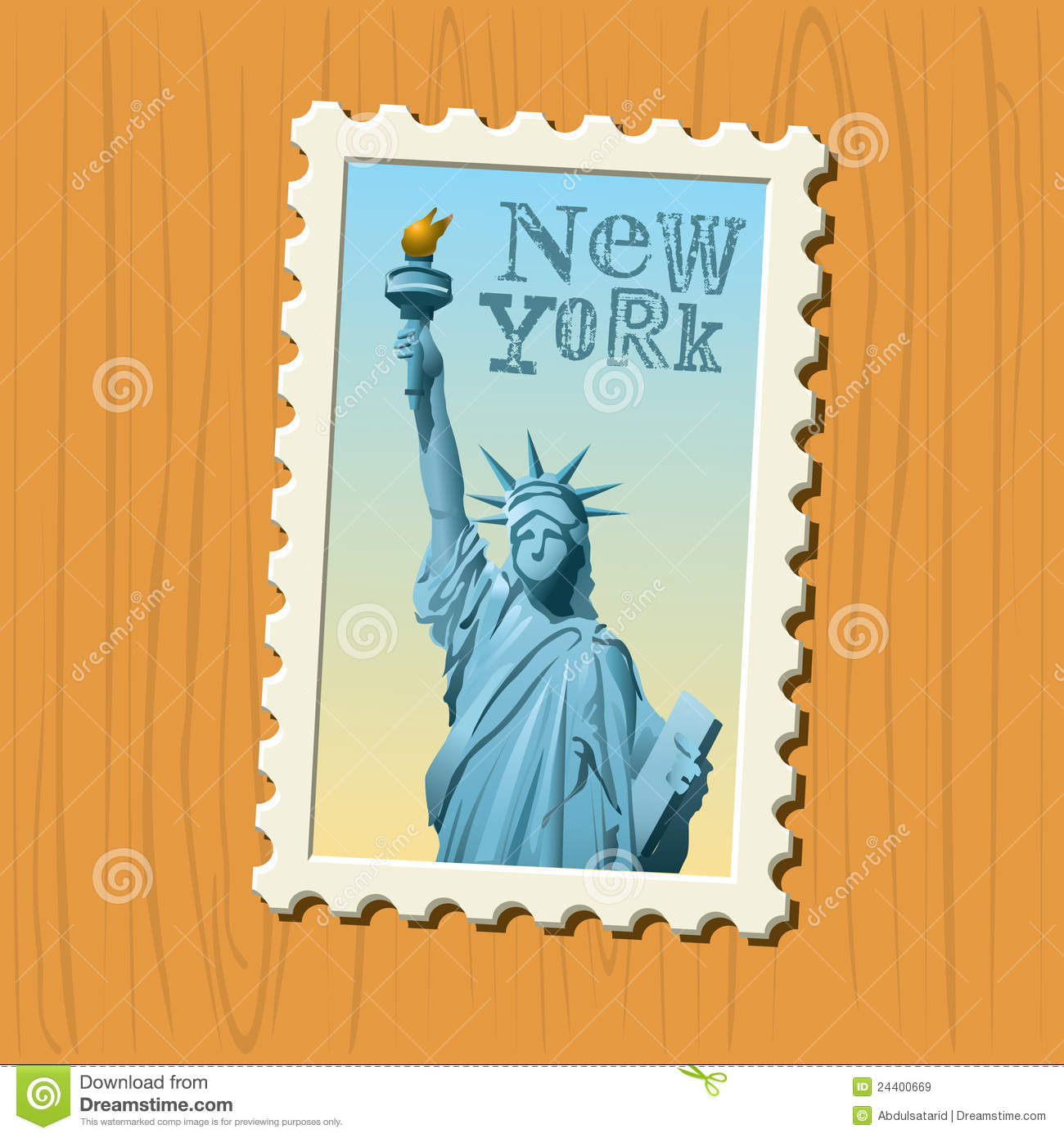 New York State Architect Stamp Of New York Postage Stamp Stock Vector Image Of Landmark