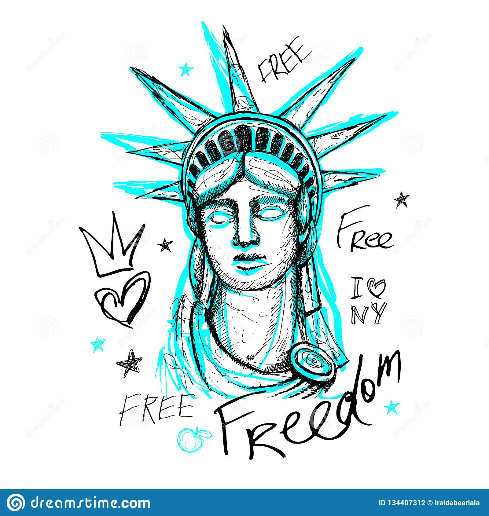 New York, projeto da camisa de t, cartaz, cópia, rotulação da estátua da liberdade, mapa, gráficos do t-shirt, curso na moda, sec