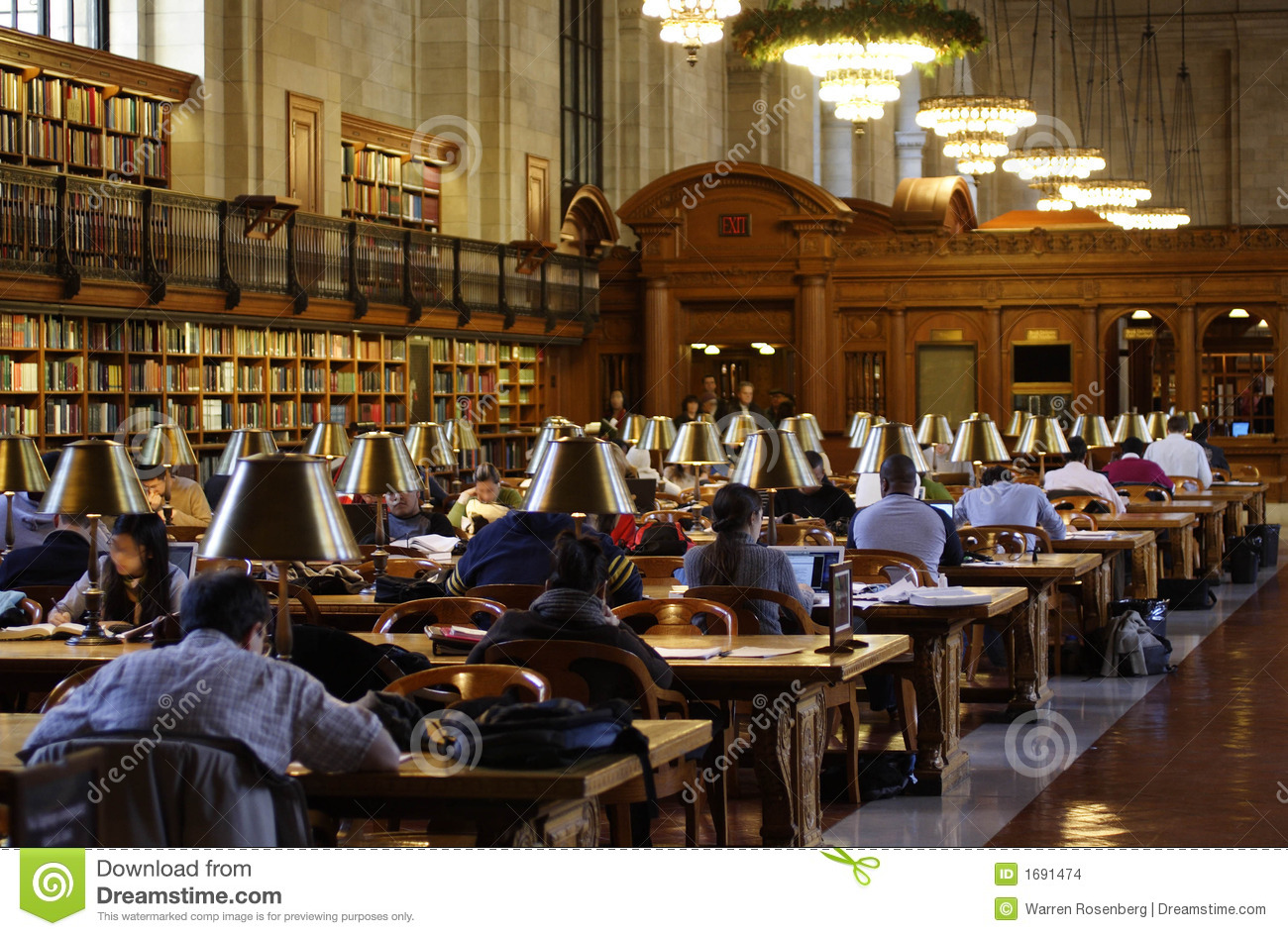 New York Public Library Reading Room Stock Images Image