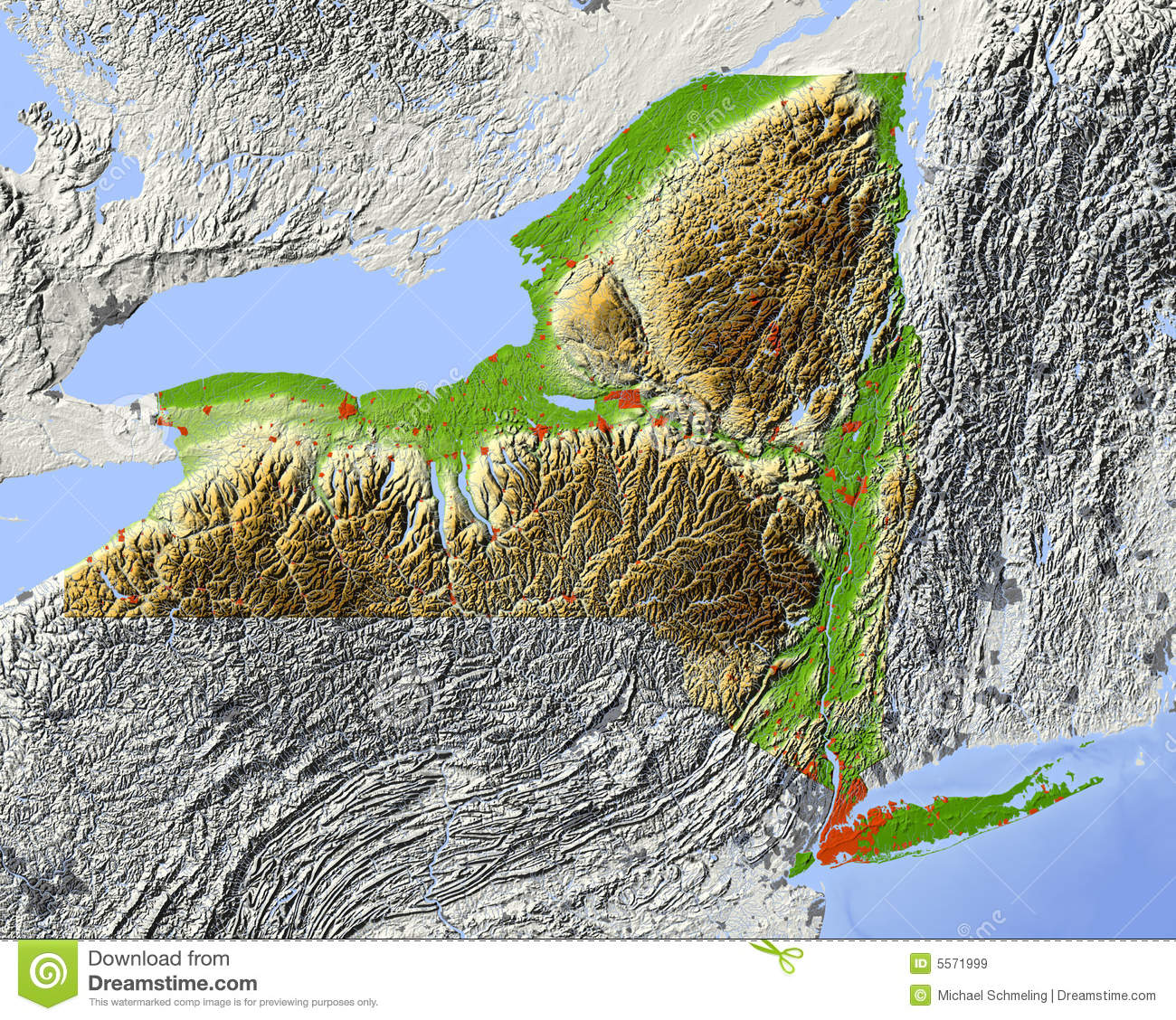 New York, Relief Map Of State Stock Illustration - Illustration of ...