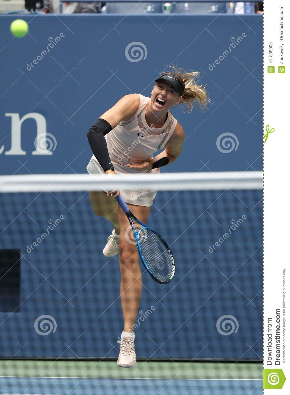 Five times Grand Slam Champion Maria Sharapova of Russia in action during her 2017 US Open round 4 match