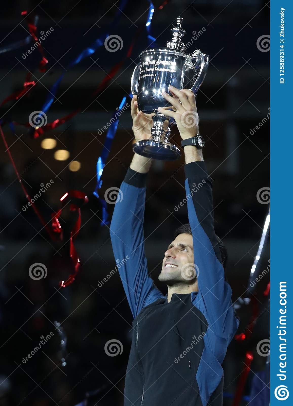 2018 Us Open Champion Novak Djokovic Of Serbia Posing With Us Open Trophy During Trophy Presentation After His Final Match Victory Editorial Stock Image Image Of Lacoste Court 125889314